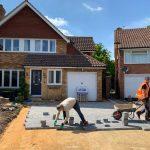 Berkshire grey block paving driveway installation