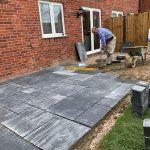 patio installation underway in Berkshire
